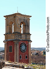 viejo, torre, corfu, campanario, grecia