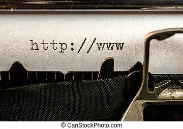 viejo, url, texto, escrito, principio, máquina de escribir