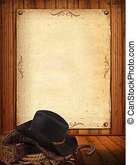 viejo, vaquero, texto, papel, occidental, plano de fondo, ropa