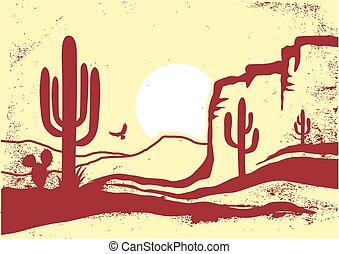 viejo, vector, ilustración, desierto, cactus, gráfico, arizona, papel, vendimia, textura, sun., norteamericano
