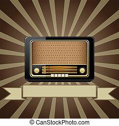 viejo, vector, radio