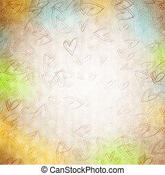 Viejos antecedentes de papel con corazones