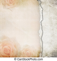 Viejos antecedentes de papel roto. Textura con rosas