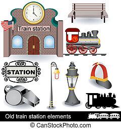 Viejos elementos de la estación de tren