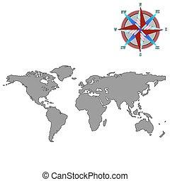 viento, gris, rosa, mapa del mundo