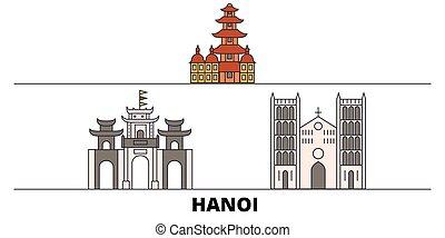 Vietnam, el plano Hanoi ilustración vectorial vectorial. Vietnam, la ciudad de Hanoi con vistas de viajes famosas, horizonte, diseño.