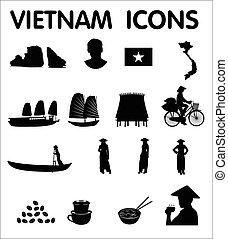 vietnam, iconos, vector
