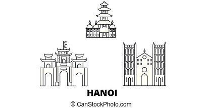 Vietnam, línea de viaje en línea aérea de Hanoi. Vietnam, Hanoi esboza la ilustración del vector de la ciudad, símbolo, lugares de viaje, puntos de referencia.