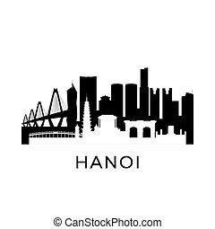 vietnam, skyline., hanoi, ciudad