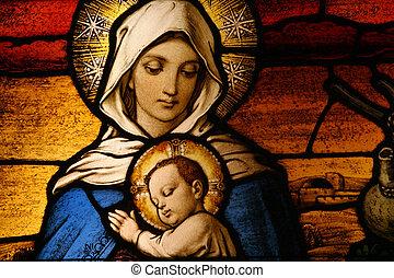 Vigin Mary con el bebé Jesús