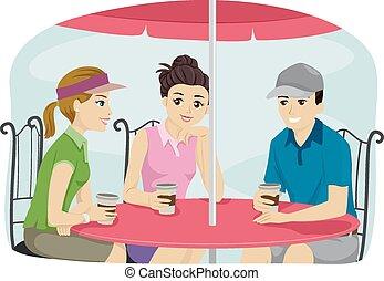 vinculación, amigos, encima, café