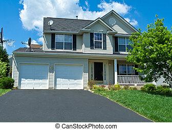 vinilo, casa, suburbano, sola familia, md, hogar, apartadero
