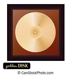 Vinilo de disco dorado con marco. Ilustración de vectores