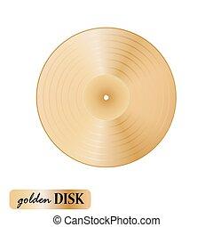 Vinilo de disco dorado en fondo blanco. Ilustración de vectores