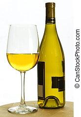 Vino blanco y botella