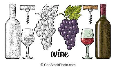 Vino. Botella, vidrio, sacacorchos, un montón de uvas. Grabado