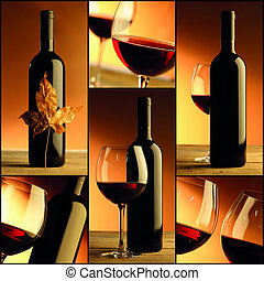 vino, botella, vino, collage, composición, vidrio