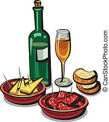vino, español, aperitivos