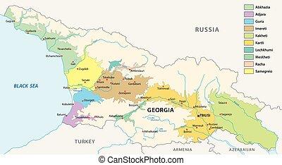 vino producir, regiones, mapa de georgia