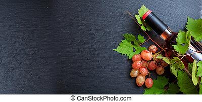 vino rosado, fresco, copia, plano de fondo, uvas negras, botella, espacio