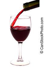 Vino tinto de una botella de vino