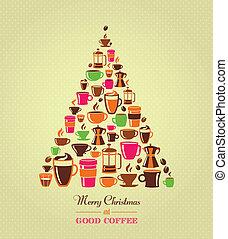Vintage los iconos de café de árbol de Navidad