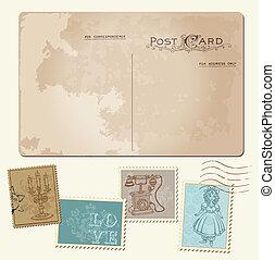 """""""Vintage Postcard and Postage Stamps"""" para diseño de bodas, invitación, felicitación, álbum de recortes"""