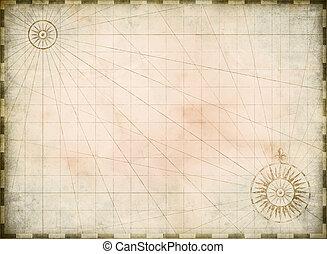 Vintage quemó fondo de mapa del tesoro en blanco