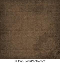 Vintage texturó fondo marrón con silueta de rosas