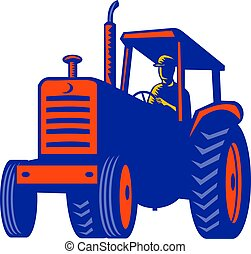 Vintage-tractor-pullo-front-retro