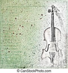 violín, bosquejo, viejo, resumen, plano de fondo