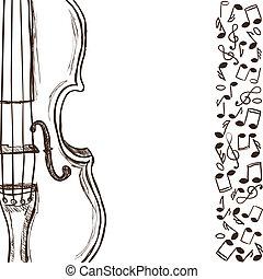 Violín o bajo y notas musicales