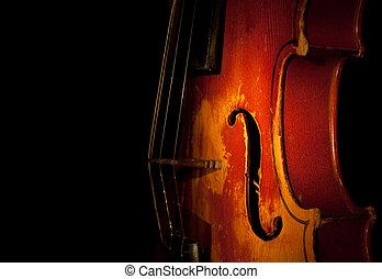 violín, silueta, detalle