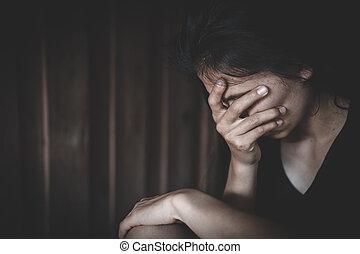 violación, sufrimiento, doméstico, mujer joven, severo, depresión, violencia