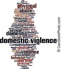 violencia doméstica, palabra, nube
