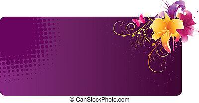 Violet estandarte con flores lilas