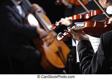 violinistas, music., concierto, clásico