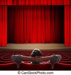 VIP sentado en el cine 3D ilustración