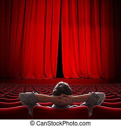 VIP sentado en el cine rojo cortina 3D ilustración