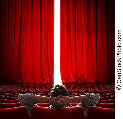 VIP sentado frente a una cortina roja de cine ligeramente abierta 3D de ilustración