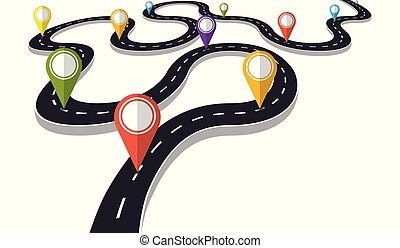Virando carretera con indicador de punteros ilustración vectorial. El concepto del progreso