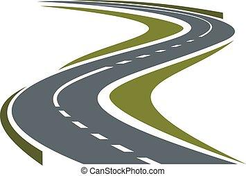 Virando carretera pavimentada o icono de carretera