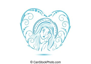 virgen, corazón, floral, maría, forma