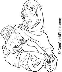Virgen María abraza al bebé Jesús