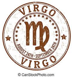 virgo, estampilla, zodíaco, grunge