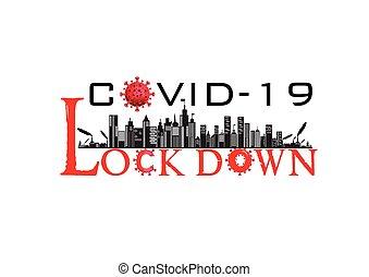 /, virus, bandera, lockdown, ciudad, corona, ilustración, covid-19, pandemia