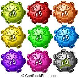 virus, célula, plano de fondo, cierre, blanco, arriba