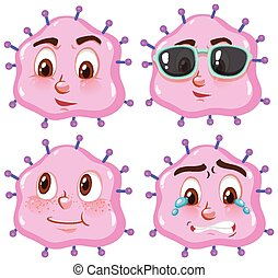 virus, expresiones faciales, células, diferente, rosa