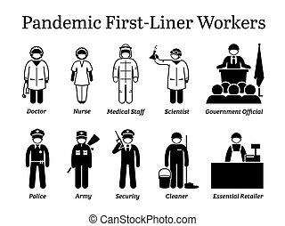 virus, first-liner, cliparts., trabajadores, pandemia