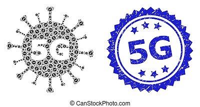 virus, mosaico, icono, 5g, textured, sello, recursion, 6g